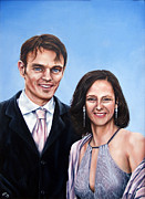 Richard Mountford Prints - Matt and Sophie Wedding Painting Print by Richard Mountford