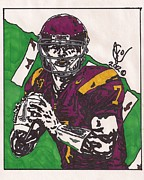 Ncaa Drawings Prints - Matt Barkley Print by Jeremiah Colley