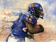 Jordan Mixed Media Framed Prints - Matt Forte Framed Print by Michael  Pattison