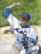 Baseball Art Framed Prints - Matt Harvey Framed Print by Michael  Pattison