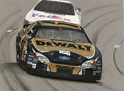 Tire Drawings - Matt Kenseth Dewalt Ford by Paul Kuras
