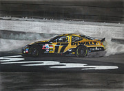 Tire Drawings - Matt Kenseth Victory Burnout by Paul Kuras