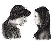 Charcoal Portrait Posters - Matt Smith and Karen Gillan Poster by Rosalinda Markle