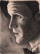 Charcoal Portrait Posters - Matt Smith Poster by Rosalinda Markle