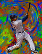 Baseball Paintings - Matt Tuiasosopo by Donald Pavlica