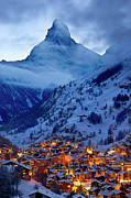 Snowy Night Art - Matterhorn at Twilight by Brian Jannsen