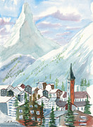 Mountain Climbing Paintings - Matterhorn by Walt Brodis