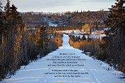 Snow On Road Framed Prints - Matthew chapter 7 verse 13 and 14 Framed Print by Arlene Rhoda Nanouk
