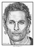 Grey Drawings Framed Prints - Matthew McConaughey in 2011 Framed Print by J McCombie