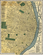 Old Map Paintings - Matthews Northrup Map of St Louis Missouri 1895 by MotionAge Art and Design - Ahmet Asar