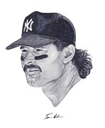 Mlb Painting Prints - Mattingly Print by Tamir Barkan