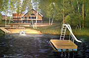 Cabin On A Lake Posters - Matts Cabin Poster by Rick Huotari