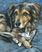 Australian Shepherd Posters - Maty and Lennox Poster by Mary Medrano