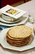 White Cloth Prints - Matza and Haggada for pesach Print by Ilan Rosen