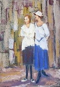 Twenties Pastels Posters - Maude and Mayme Poster by Barbara Torke