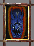 Scary Tapestries - Textiles - Maui Mask Black Velvet Painting by Diane Bombshelter