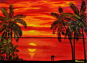 Waterscape Painting Metal Prints - Maui Sunset Metal Print by Teresa Wegrzyn