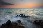 Sunset Seascape Prints - Maui Tidal Swirl Print by Mike  Dawson
