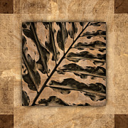 Exotic Leaves Posters - Maui Tropic Brown Poster by Carol Leigh