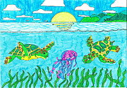 Under The Ocean  Drawings Metal Prints - Maui Turtles with Jellyfish Metal Print by Jay or Jaz Kelber