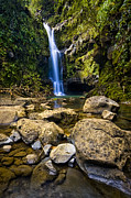 Fall Photos Photo Framed Prints - Maui Waterfall Framed Print by Adam Romanowicz