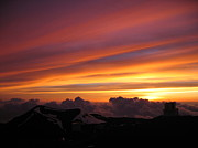 Mauna Kea Painting Prints - Mauna Kea Sunset Print by Robin Chaffin