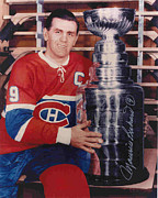 Puck Framed Prints - Maurice Richard Stanley Cup Poster Framed Print by Sanely Great