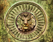 Plaque Posters - Mausoleum Lion Poster by Chris Thaxter