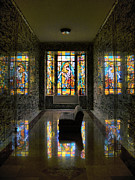 Queen Of Heaven Prints - Mausoleum Stained Glass 03 Print by Thomas Woolworth