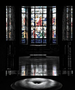 Queen Of Heaven Posters - Mausoleum Stained Glass 05 Poster by Thomas Woolworth