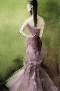 Watercolour Portrait Posters - Mauve Evening Gown Fashion Illustration Art Print Poster by Beverly Brown Prints