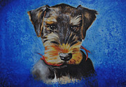 Pic Painting Posters - Mavrick the Airedale Puppy Poster by Ruben Barbosa