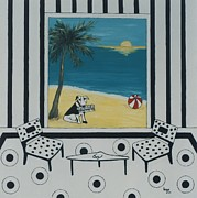 Inge Lewis Prints - Max and the Miami Herald Print by Inge Lewis