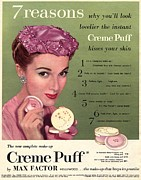 Twentieth Century Drawings Posters - Max Factor 1950s Uk Creme Puff Poster by The Advertising Archives