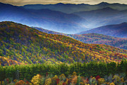 Smokey Mountains Digital Art Posters - Max Patch Colors Poster by John Haldane