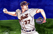 Baseball Drawings - Max Scherzer by Dave Olsen