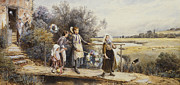 Full-length Framed Prints - May Day Garlands Framed Print by Myles Birket Foster