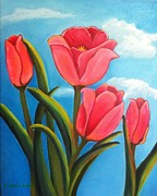 Raleigh Originals - May Flowers - Pink Tulip Flowers by Shelia Kempf