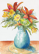 Floral Arrangement Paintings - May Spray Floral by Pat Katz