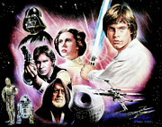 Science Fiction Drawings Metal Prints - May the force be with you 2nd version Metal Print by Andrew Read