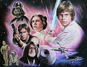 Famous Faces Drawings Posters - May The Force Be With You Poster by Andrew Read