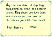St.patricks Day Framed Prints - May the Sun Shine - Irish Blessing Framed Print by Bill Cannon