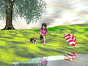 Dogs Digital Art Originals - May You Jump in Puddles by Michele Wilson