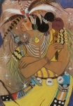 Feathers Pastels Prints - Mayan Ceremonial Dance Print by Pamela Mccabe