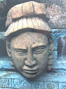 Mayan Paintings - Mayan deity head by Yucatan sculpture artist