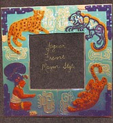 Ceramic Ceramics Framed Prints - Mayan Jaguar Frame Framed Print by Charles Lucas