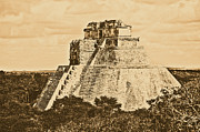 Travelpixpro Posters - Mayan Pyramid of the Magician at Uxmal Mexico Rustic Poster by Shawn OBrien