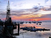 Plymouth Harbor Prints - Mayflower II at sunrise Print by Janice Drew
