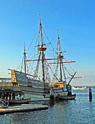 Plymouth Harbor Prints - Mayflower II Print by Barbara McDevitt