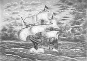 Tall Ship Drawings Prints - Mayflower Ship Print by Pierre Salsiccia